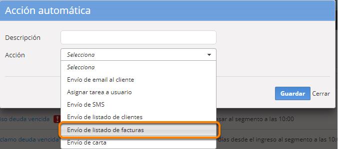 """Se abrirá el formulario para crear la nueva acción. Debes seleccionar la opción """"Envío de listado""""."""