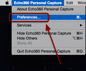 An arrow pointing to the preferences category for the software