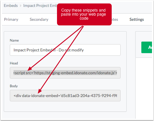Add the embed's website code to the organization's website