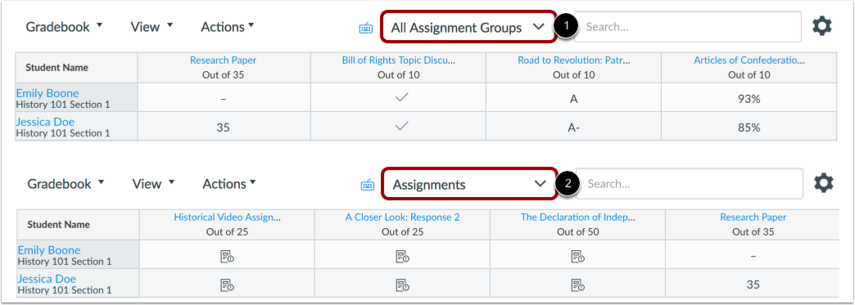 choose which assignment group in new gradebook