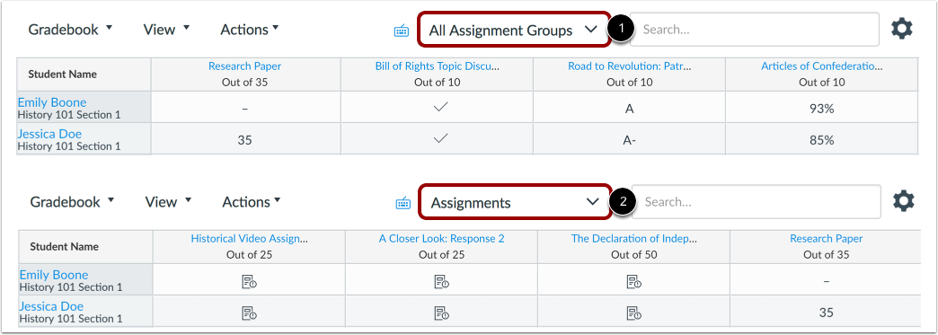 View Assignment Group Menu