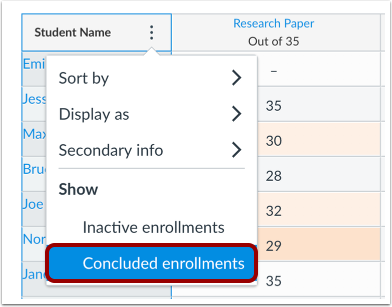 Show Concluded Enrollments