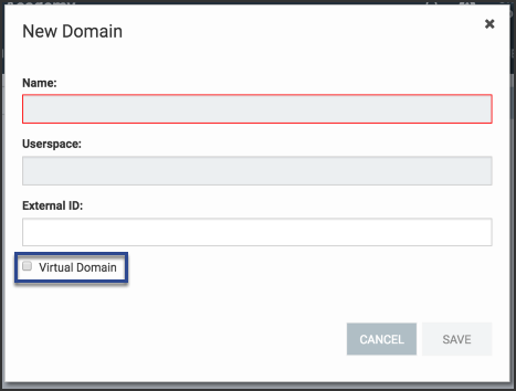 the new domain window shoes a checkbox next to virtual domain