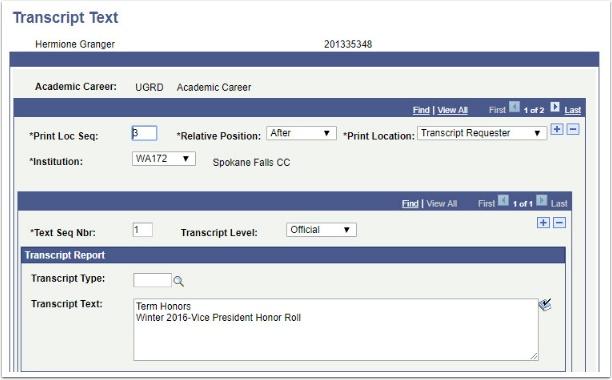 Transcript Text page After Transcript Requestor