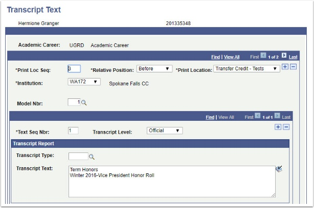 Transcript Text page Before Transfer Credit -Tests