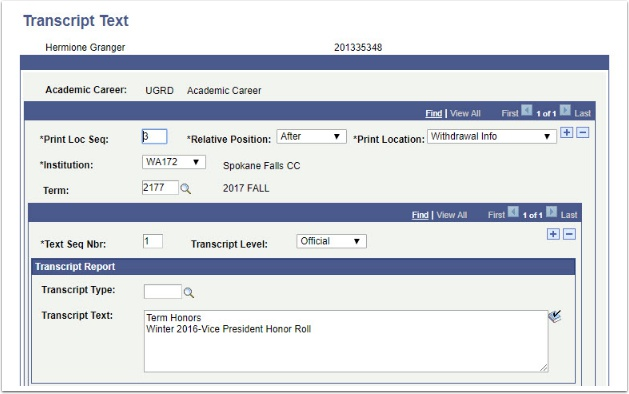Transcript Text page After Withdrawal Info