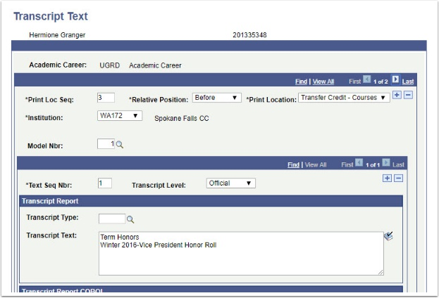 Transcript Text page Before Transfer Credit - Course