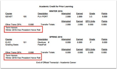 After Transfer Credit - Other example