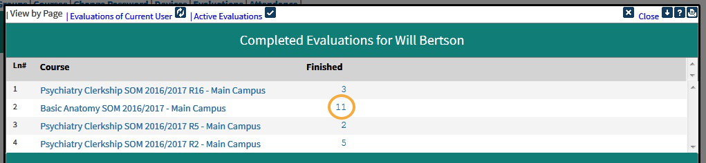 To view a list of completed evaluations, click 'Completed Evaluations'