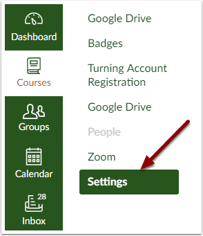 Canvas Course Settings button