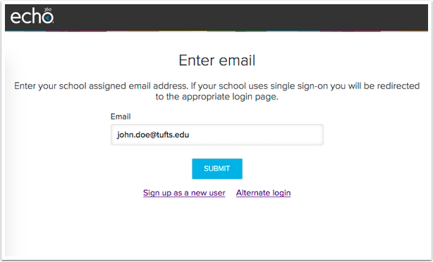 Echo login screen with Tufts email address filled in.