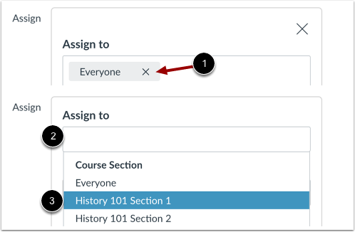 Assigning to a section