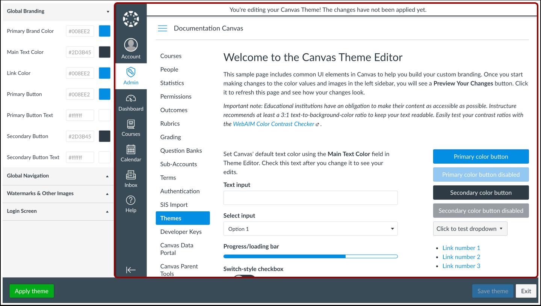 Theme Editor weergeven