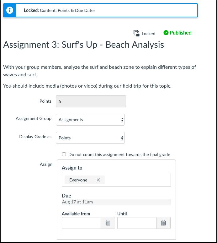 Visualizar página de edição para a tarefa