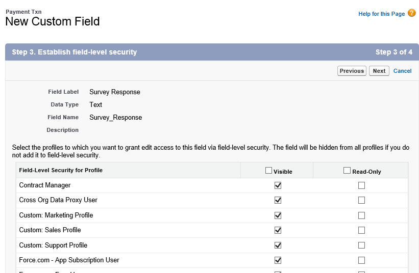 Set field security for your new field