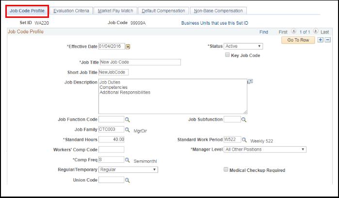 Job Code Profile tab