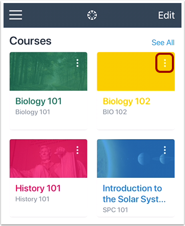 View Course Card Options