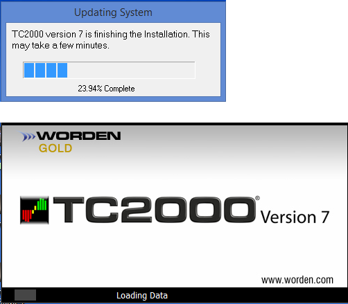 5. TC2000 will finalize the installation, this could take 5 minutes to an hour (Depending on the speed of your computer).