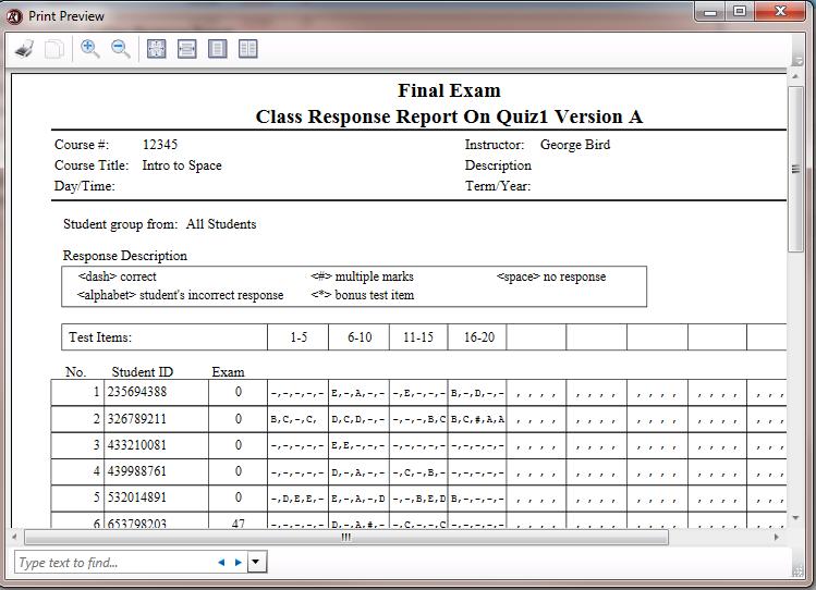 Class Response Report