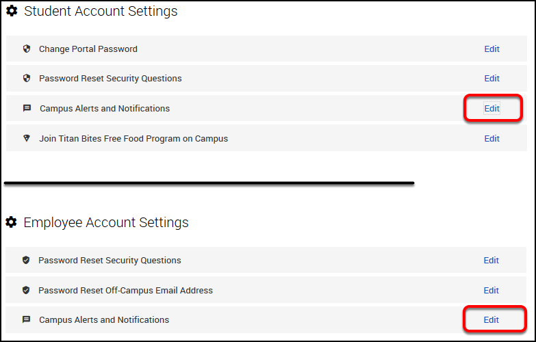 student account settings and employee account settings
