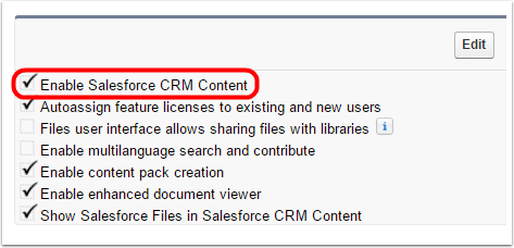How do I verify that the Salesforce CRM Content is enabled?