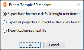 Export 2D horizon to default Insight multi-survey format
