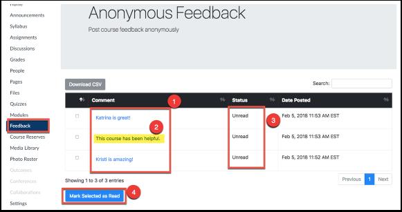Screenshot of anonymous feedback.
