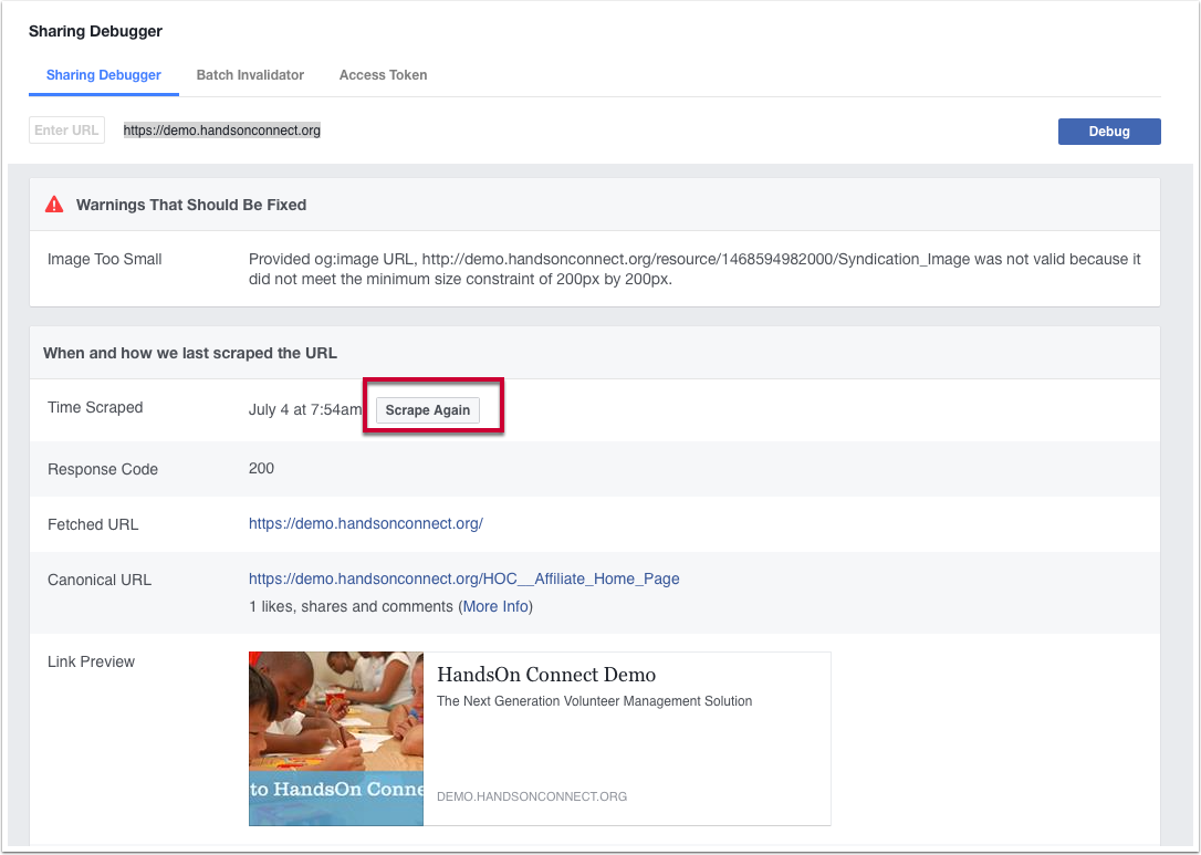 3) Have Facebook 'scrape' your site again to pick up these changes: