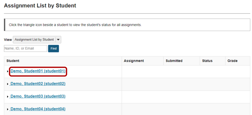 Select a student.