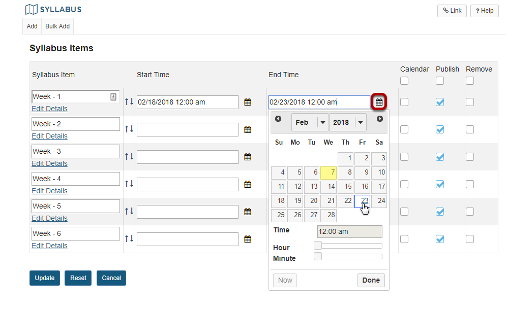 Select start and/or end dates for each Syllabus item.