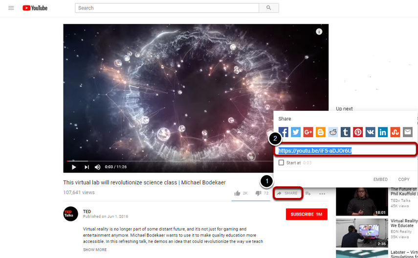 First locate and copy the YouTube video URL (not source code).