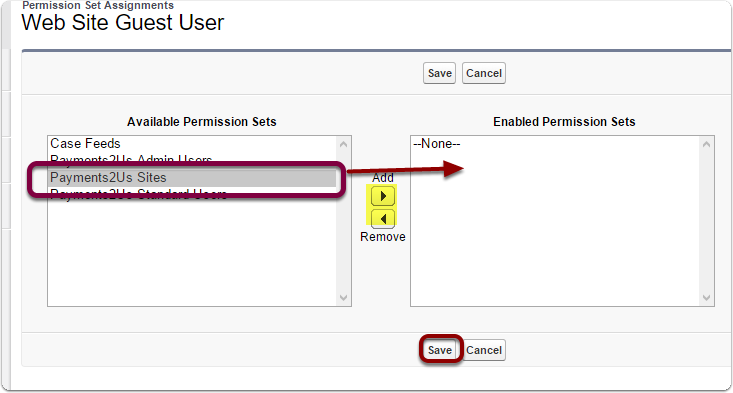 Add 'AAkonsult Payment Sites' to the Enabled Permission Sets.