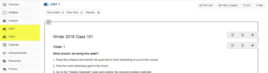 Example of a top-level Lessons page that must be completed.