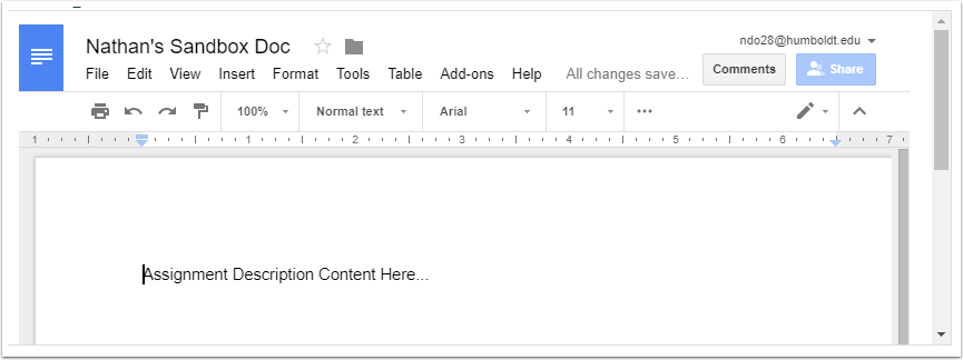 Google Doc embedded in Canvas assigment description