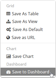 Choose Save To Dashboard