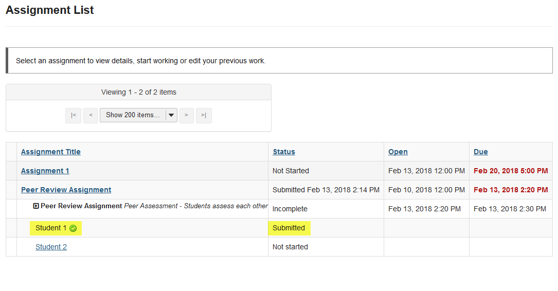 View submitted peer assessments.