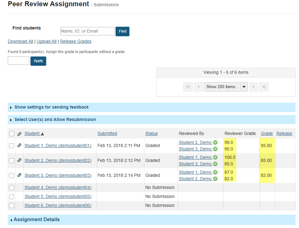 View overall peer assessment scores.