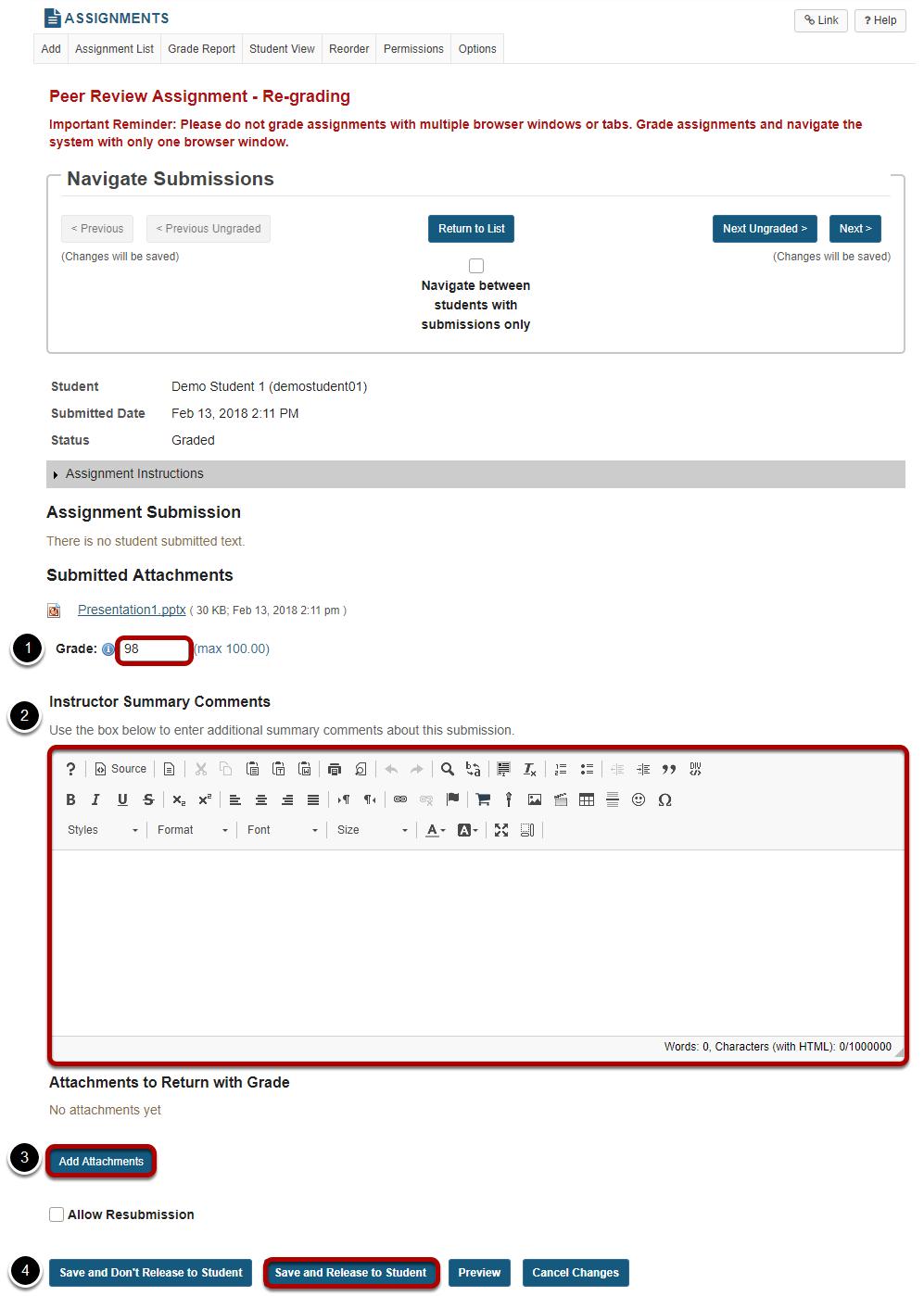 Adjust score or enter comments.