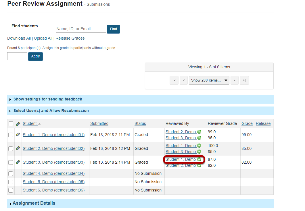Click on the reviewer name to view individual peer review feedback.