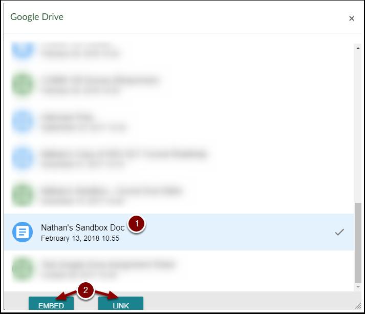 Google Drive content selector