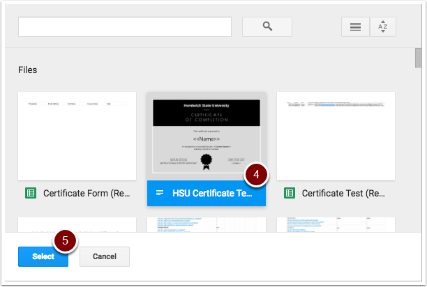 certificate template selection