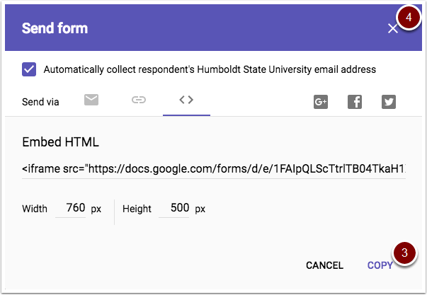 Google Forms copy embed link