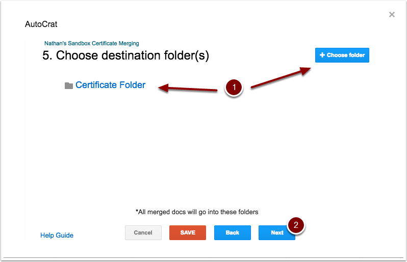 autoCrat destination folder