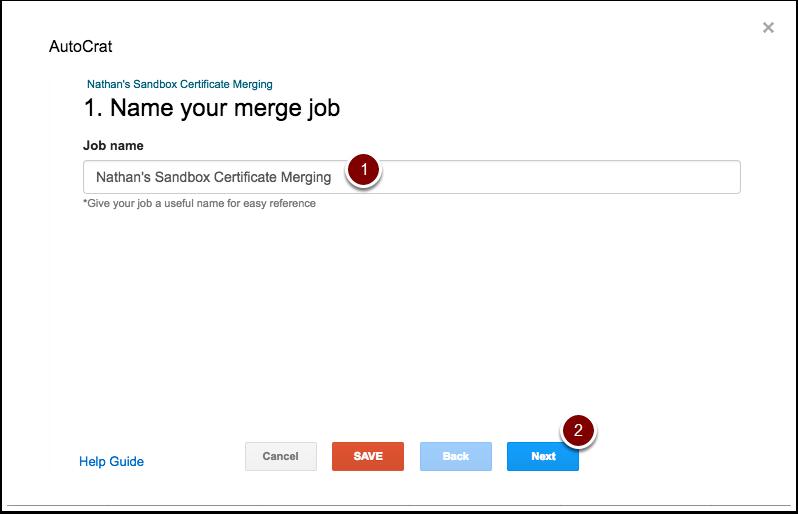 autoCrat job name