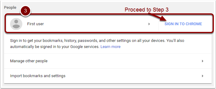 Google Chrome Settings page showing People area - signed out