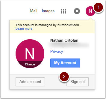 Google Account dropdown with Sign out button