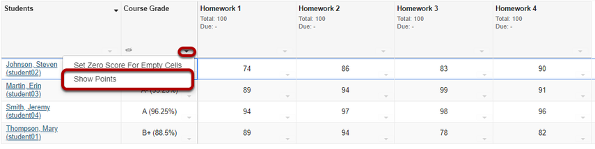 Show/hide course grade points.