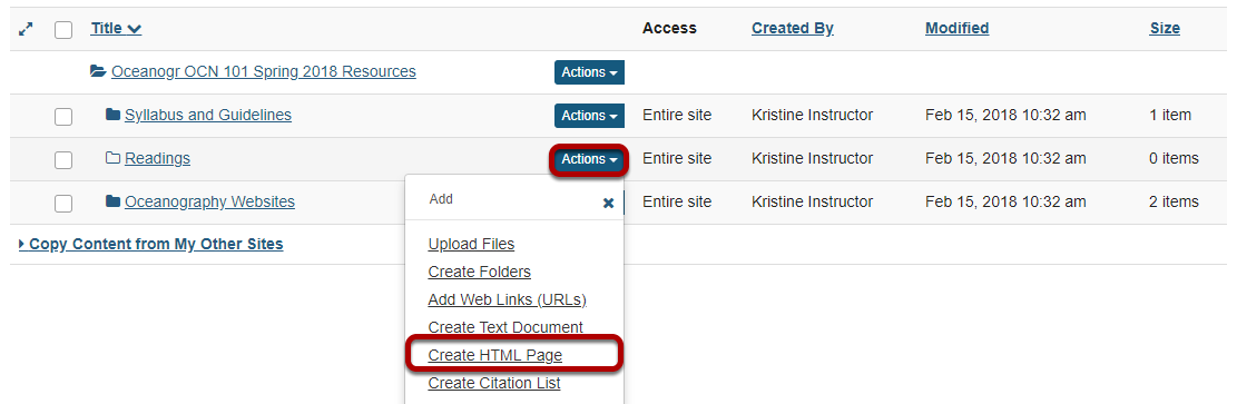 Click Actions, then Create HTML Page.