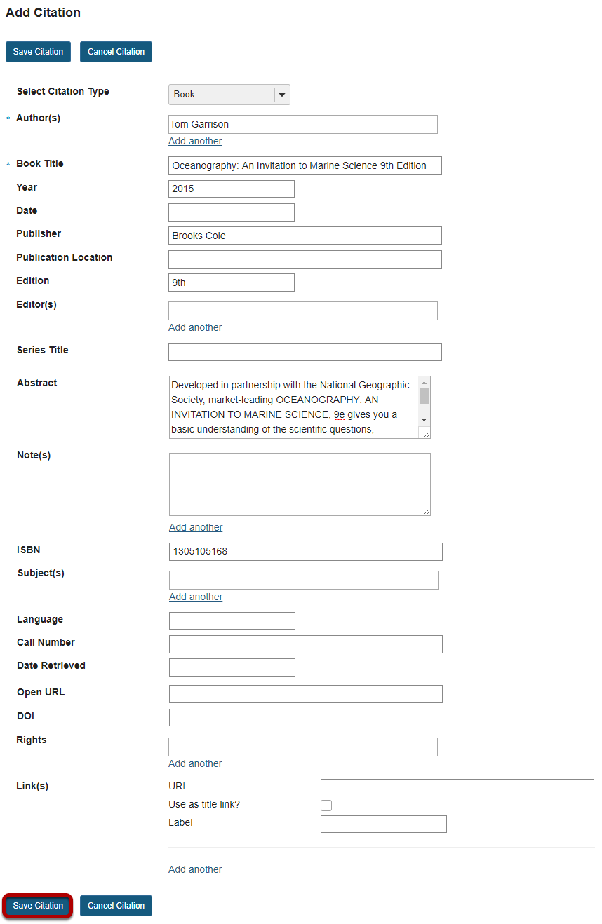 Image of the manual citation creation page.