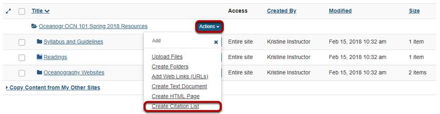 Method 2: Manually create citation list.